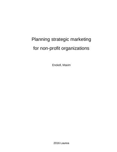 simple marketing planning for nonprofit organization