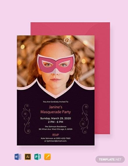 simple masquerade invitation template