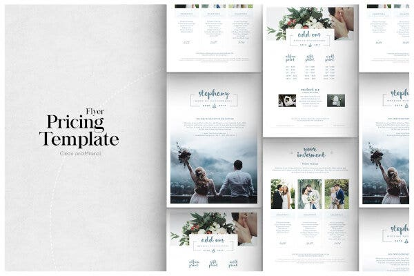 simple photography pricing list template