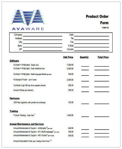 simple product order form template1