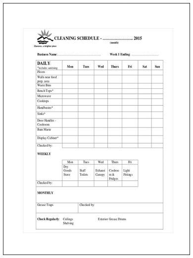 simple restaurant cleaning schedule
