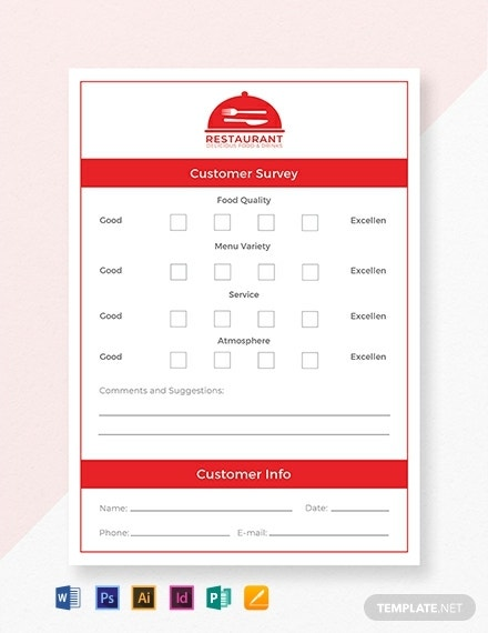 simple restaurant comment card template