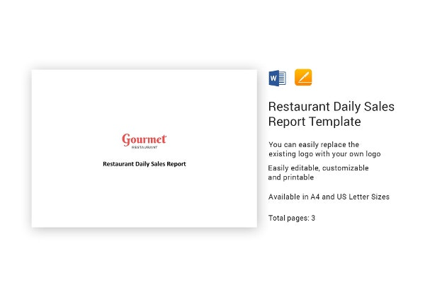 simple restaurant daily sales report template