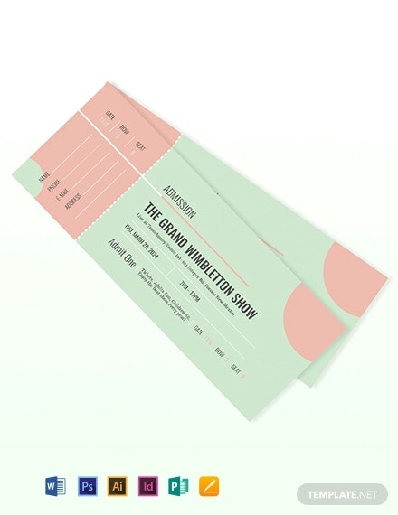 simple show admission ticket layout