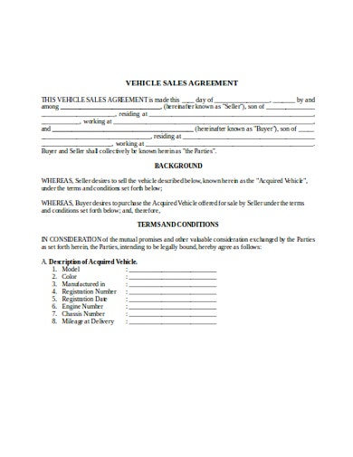 simple vehicle sales agreement template