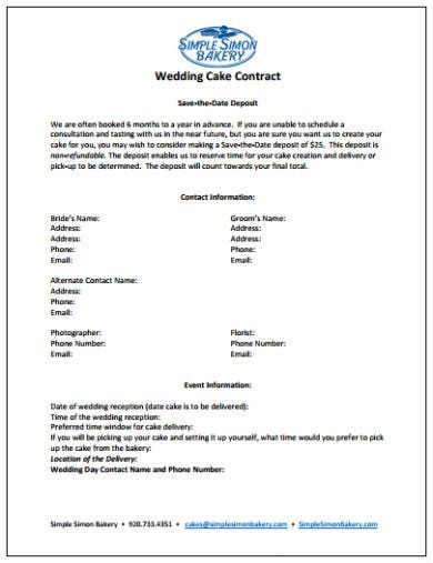 simple wedding cake contract template