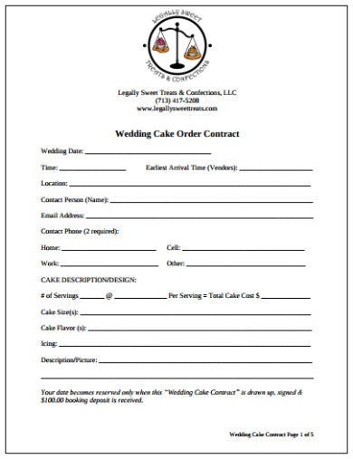 simple wedding cake order contract