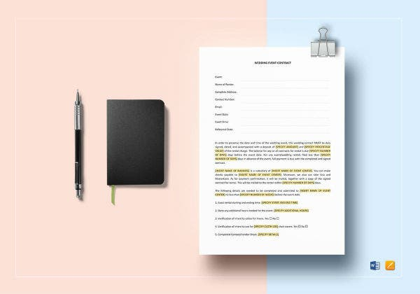 simple wedding event contract template1