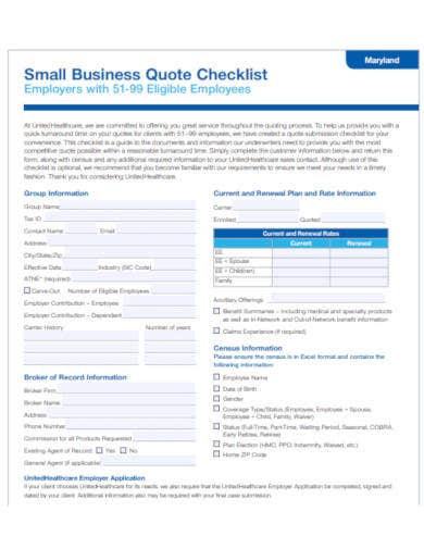 small business quote checklist