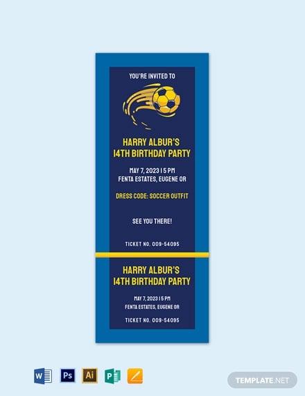 soccer birthday invitation ticket template