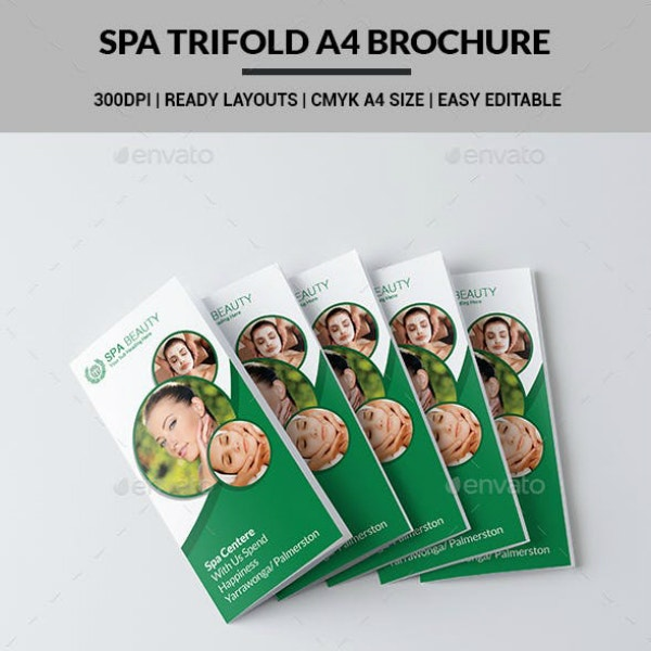 spa beauty trifold brochure layout