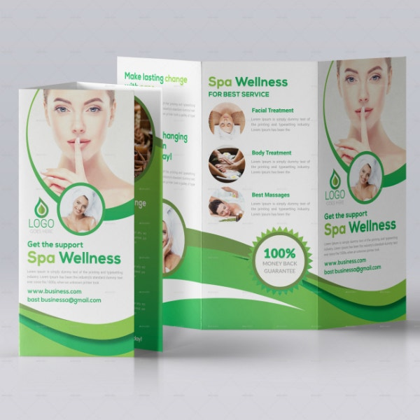 spa business trifold brochure format