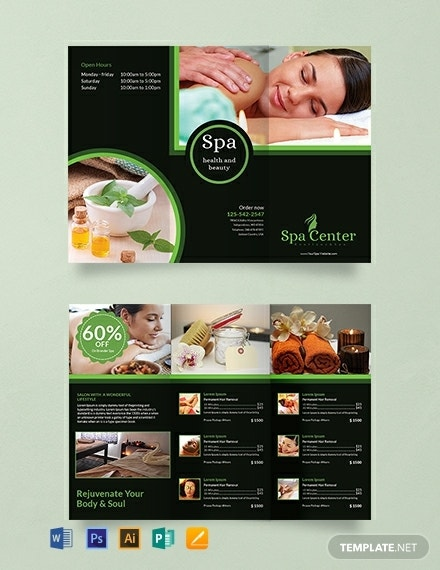 spa center trifold brochure example