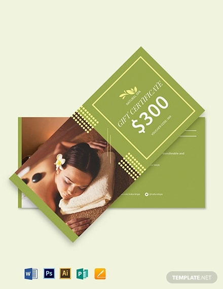spa gift voucher card example