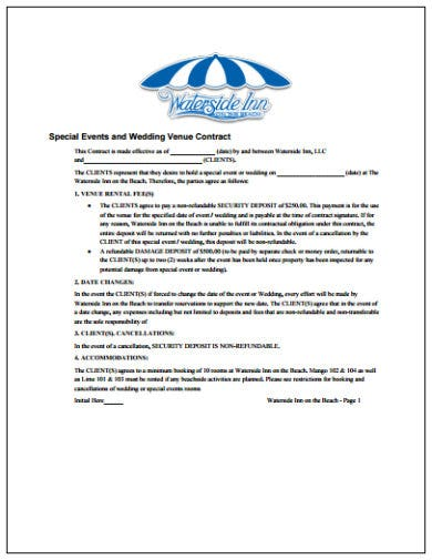 special event and wedding venue contract