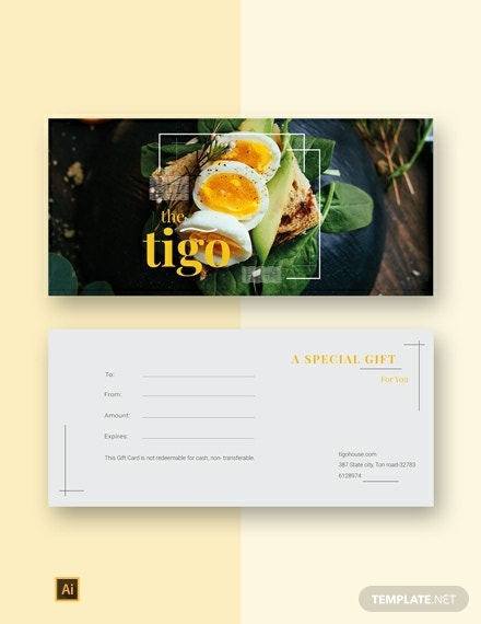 special restaurant gift certificate example