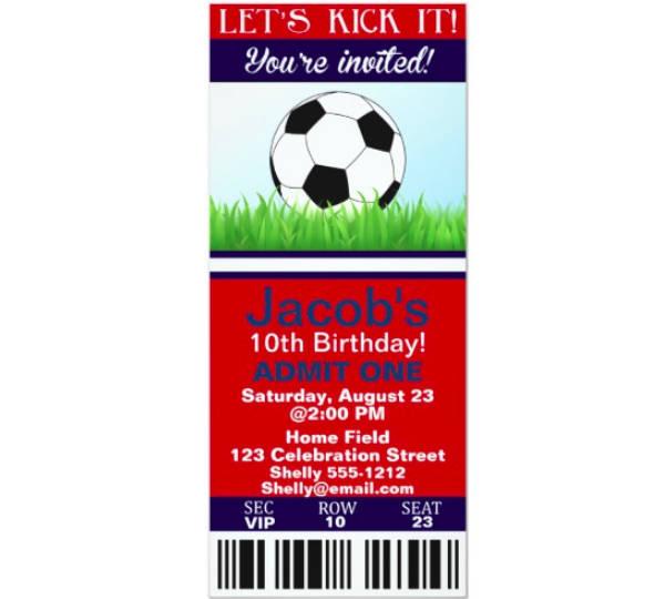 Sports Ticket Birthday Invitation