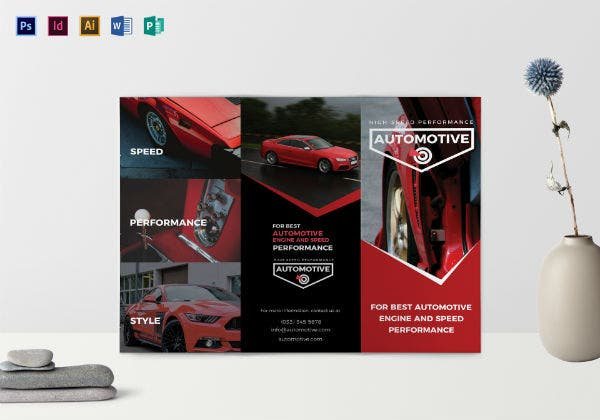 sporty automotive rental brochure template