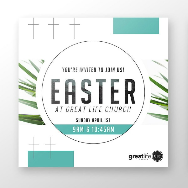 Square Easter Church Invitation Design