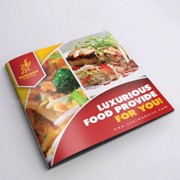 square luxurious restaurant brochure design