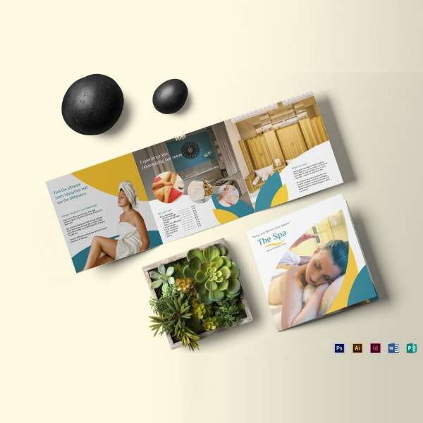 square trifold spa brochure layout