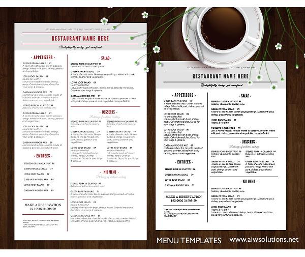standard catering service menu