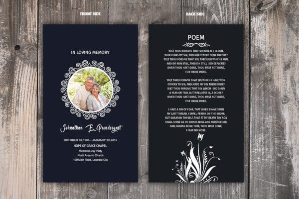 standard funeral prayer card template