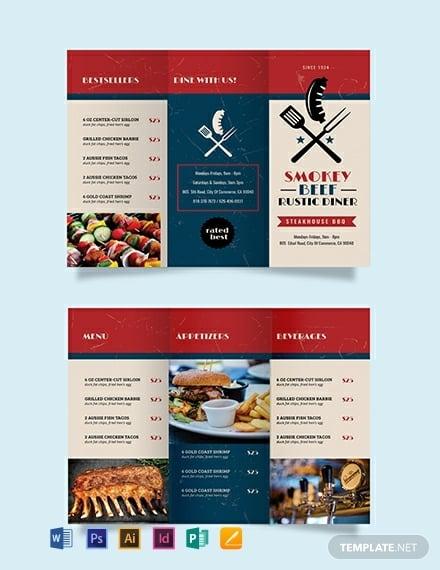 steakhouse bbq restaurant brochure sample