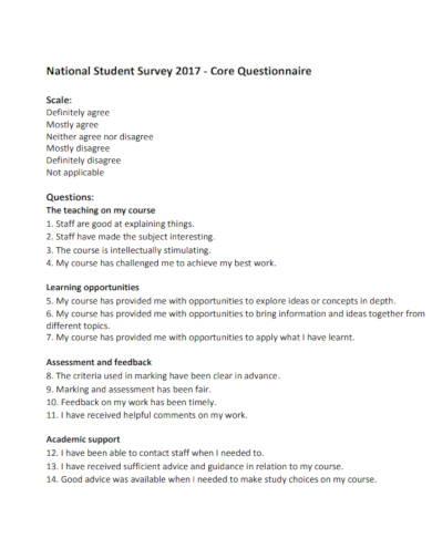 student survey questionnaire template