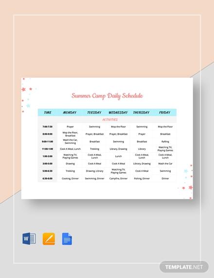 summer camp daily schedule1