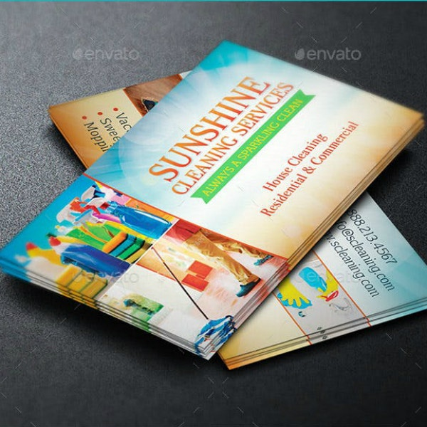 sunshine cleaning business card template