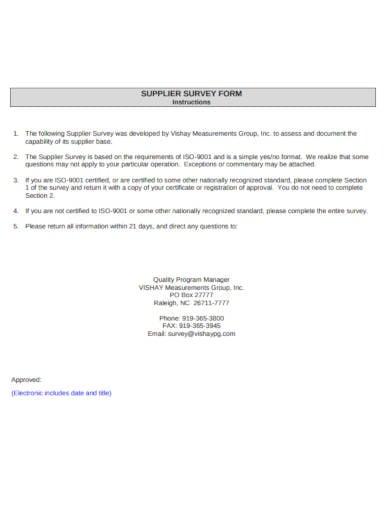 supplier survey form