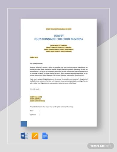 survey questionnaire for food business1