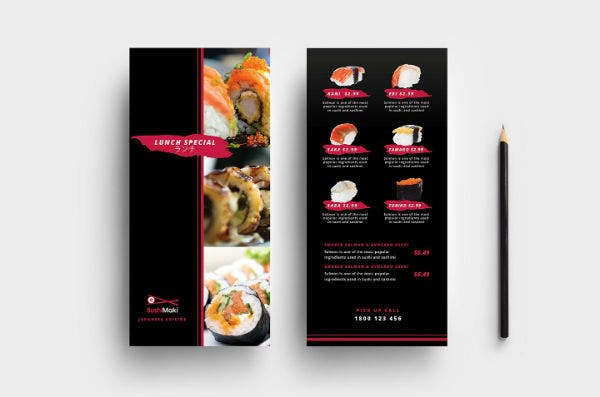 sushi restaurant rack card template