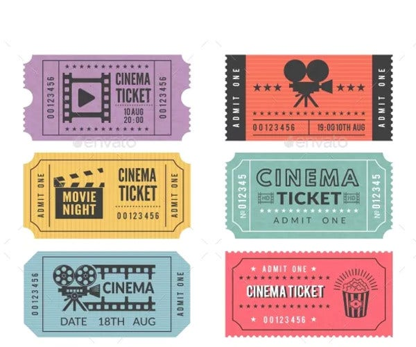 template of cinema tickets