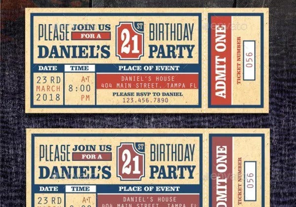 ticket invitation in psd