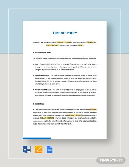 6+ Time Off Policy Templates - PDF, DOC | Free & Premium