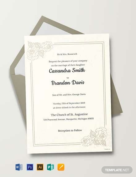 traditional wedding ceremony invitation template