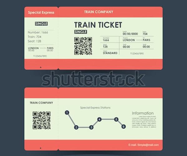 train ticket design template
