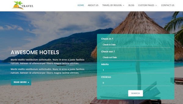 travel – drag and drop wordpress theme