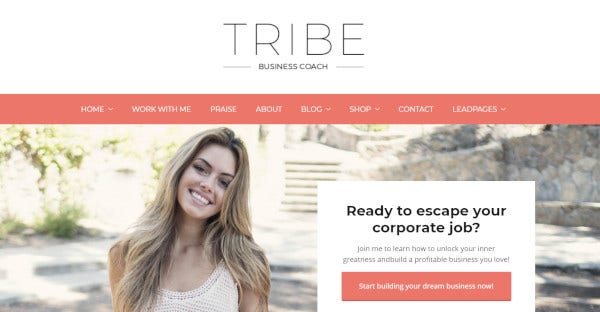 tribe coach lead capture optimized wordpress theme