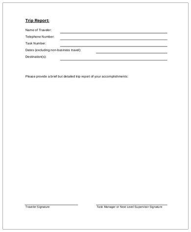 trip report format