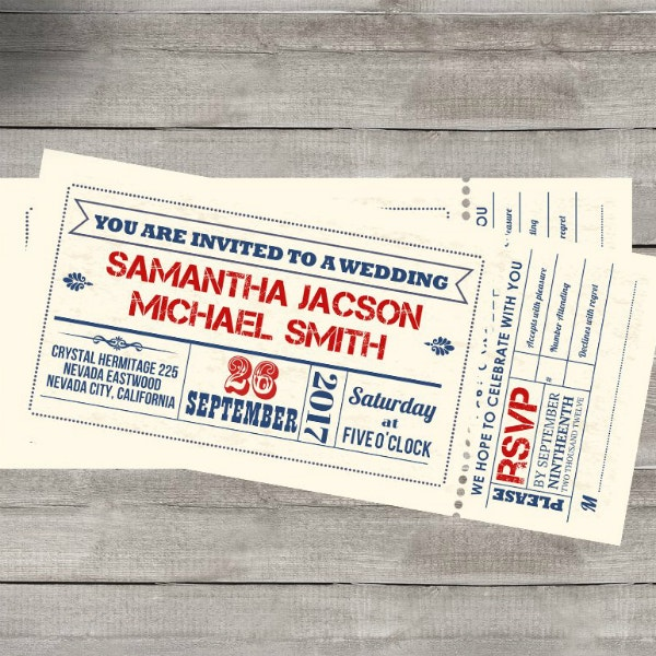 typographic wedding ticket invitation design