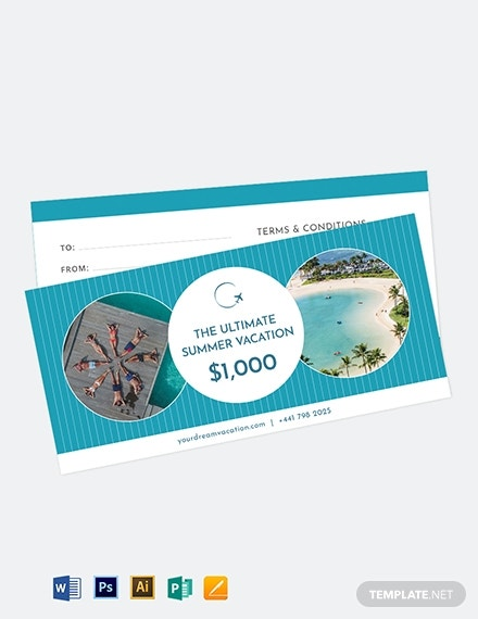 ultimate vacation gift voucher layout