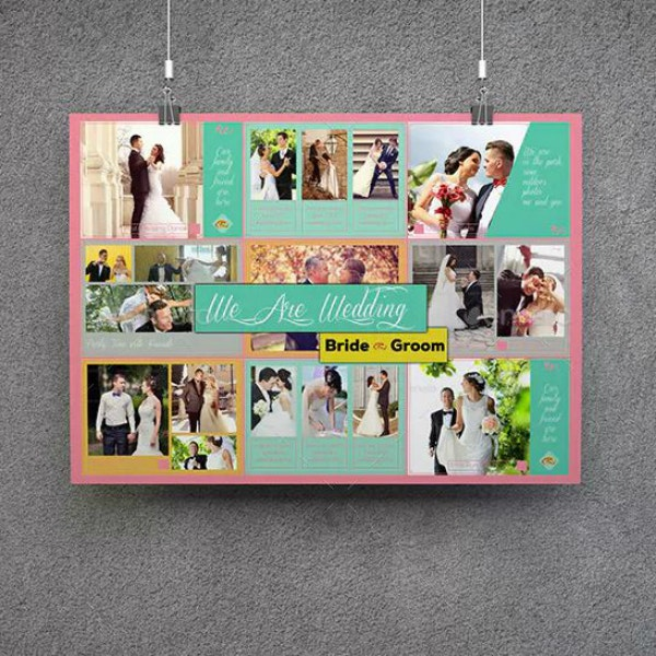 Unique Horizontal Wedding Poster Design