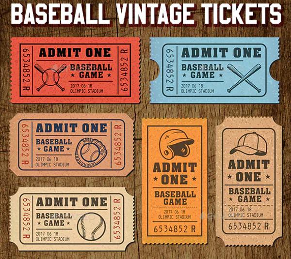 vector baseball tickets