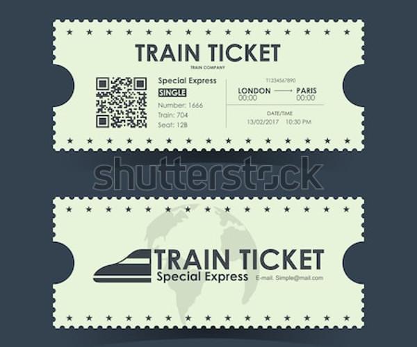vector train ticket template
