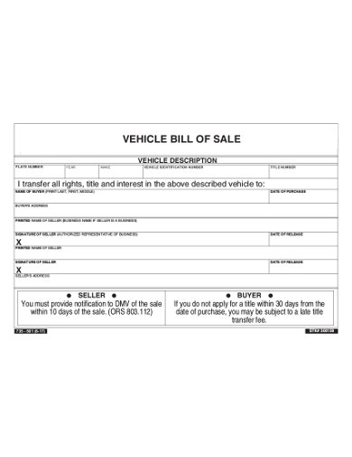 vehicle bill of sale template format