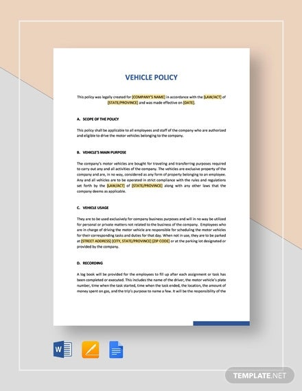 vehicle policy template