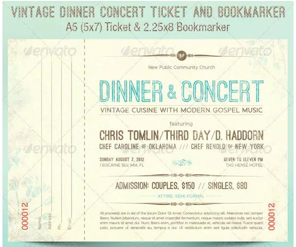 vintage dinner concert ticket